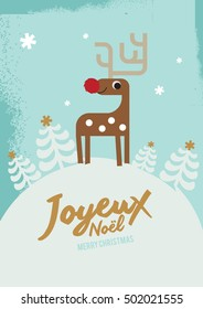Joyeux Noel means merry christmas in french/ White christmas/ Reindeer Christmas Invitation/ Christmas elements/ design, poster and illustrations.