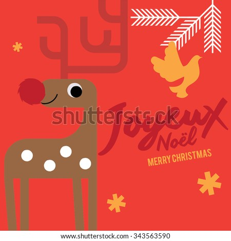Joyeux Noel Means Merry Christmas French Stock Vector Royalty Free