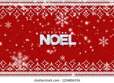 Joyeux Noel. Merry Christmas. Holiday vector illustration of paper Joyeux Noel sign with falling snowflakes texture on red knitted background. Traditional ornament woven fabric. Festive banner design