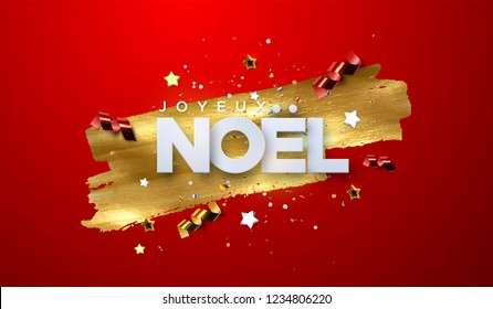 Joyeux Noel. Merry Christmas. Vector typography illustration. Holiday decoration of white paper letters, sparkling confetti, streamers, stars on golden paint stain background. Festive banner design