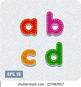 Joyful 3d colorful denim lowercase letters. The letter a, letter b, letter c, letter d. Alphabet.The rest of uppercase and lowercase letters and numbers of the alphabet in my portfolio.