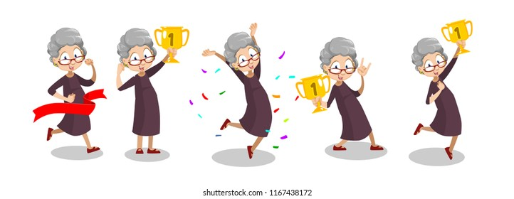 Joyful aged lady holding up gold winner cup. Funny grandmother jumping in air with gold trophy cup. Funny granny winner in competition. Happy and active lifestyle at pension vector illustration
