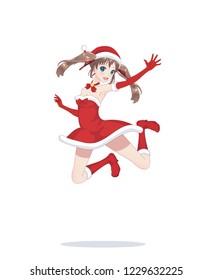 Joyful anime manga girl dressed as Santa Claus, bounces. Jumped into a jump. happy woman having fun