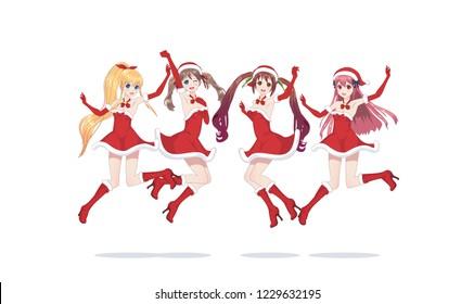 Joyful anime manga girls dressed as Santa Claus, bounces. Jumped into a jump. with santa hat winter cap