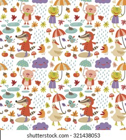 Joyful autumn pattern. white background