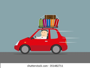 Joyful businessman traveling by car with suitcases on the roof. Use as travel, vacation and car trip design