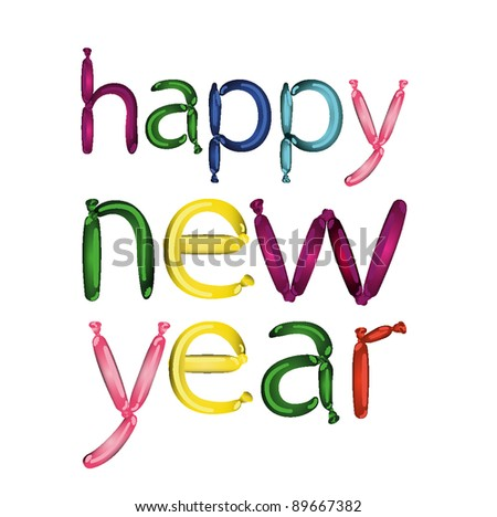 joyful cartoon balloon font happy new year vector clip art