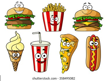 Joyful cartoon fast food hamburger, cheeseburger, pizza, hot dog with mustard , ice cream cone, french fries and soda drink in takeaway striped paper cup. Fast food for cafe or menu design usage