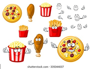 Joyful cartoon fast food pizza, fried chicken leg, french fries box and striped bucket of popcorn, for fastfood or takeaway menu theme