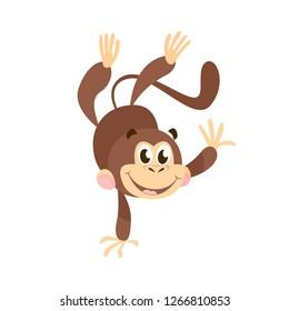 Joyful cartoon monkey doing handstand. Cute character, animal, fun. Can be used for topics like zoo, jungle, safari