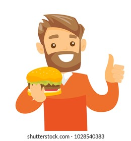 Joyful caucasian white man holding a hamburger and giving thumb up. Young smiling man is about to eat a delicious hamburger. Vector cartoon illustration isolated on white background. Square layout.