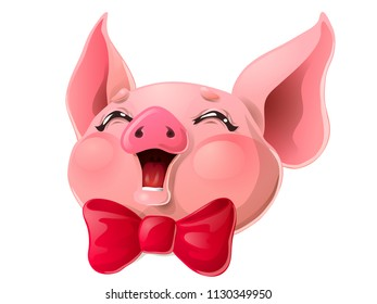The joyful cheerful pink pig head with red bow smile. A cartoon vector illustration isolated on white.