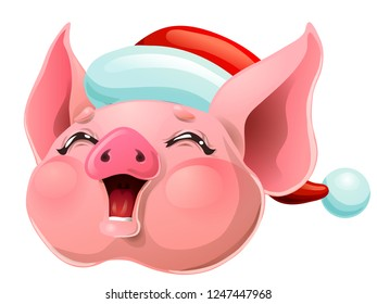 The joyful cheerful pink pig head smile in the Santa Claus cap. A cartoon vector illustration isolated on white.