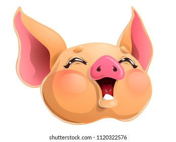 The joyful cheerful yellow pig head with brown eyes. A yellow hog, boar a symbol 2019 New Years according to the Chinese calendar. A cartoon vector illustration isolated on white.