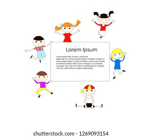 Joyful children are bouncing on white background, white board with Lorem Ipsum, flat modern bright background design element, object isolated for web, for print