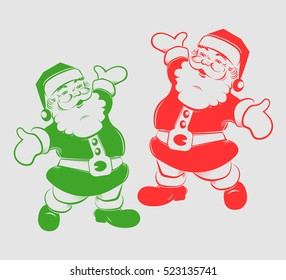 Joyful Christmas silhouette Santa Claus with stick and bag with gifts