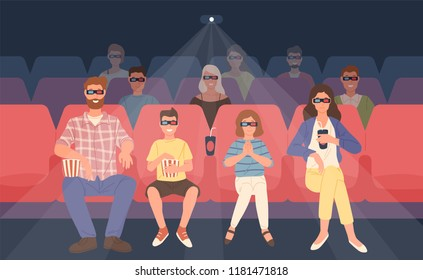 Joyful family sitting in stereoscopic movie theater or cinema hall. Mother, father and their children in 3d glasses watching three-dimensional film together. Flat cartoon colorful vector illustration.