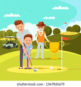 Joyful Father Teaching Little Boy to Play Golf. Grandpa Holding Golden Goblet Watching Game Process on Green Course. Family Sport or Leisure Spending Time. Active Life Cartoon Flat Vector Illustration