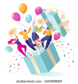 Joyful, flat characters people jump out of the gift box. Friends made a surprise. Your best gift is your friends. Confetti and balloons fly out of the box. People blow their whistles. Birthday concept