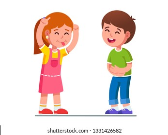 Joyful girl kid showing tongue making boy laugh, joking, grimacing teasing boy. Child holding belly. Teasing laughing children cartoon characters having fun playing together. Flat vector illustration