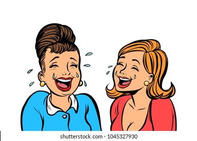 Joyful girlfriends women laugh isolate on white background. Comic book cartoon pop art retro vector illustration drawing