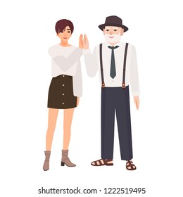 Joyful granddad and granddaughter giving high five. Smiling old man in hat and young teenage girl standing together. Happy family portrait. Colorful vector illustration in flat cartoon style.