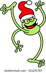 Joyful green frog celebrating Christmas big by wearing a red Santa hat, smiling enthusiastically and raising a leg and an arm