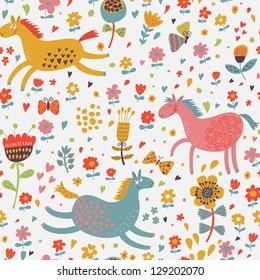 Joyful horses on flower field. Cute cartoon seamless pattern