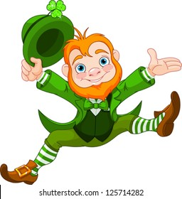 Joyful jumping leprechaun.