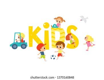 Joyful kids template. Playground with design elements.