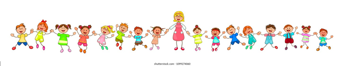 Joyful little children and a teacher. A group of children with a teacher on a walk. Group of cheerful, smiling children on a white background. Cartoon joyful children.