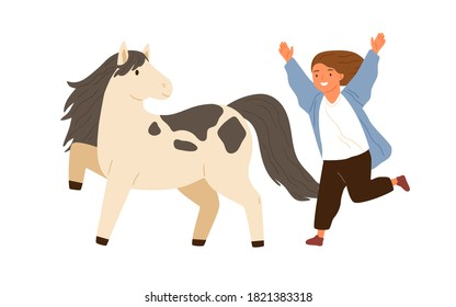 Joyful little girl running to hug adorable pony vector flat illustration. Smiling female child happy to meeting animal friend isolated on white. Cute kid and small horse enjoying friendship