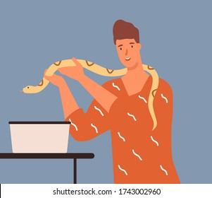 Joyful male holding yellow python vector flat illustration. Smiling guy putting snake into box isolated. Colorful man having dangerous reptile pet. Happy tamer of crawling exotic animal