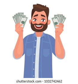 Joyful man with banknotes of money in his hands. The concept of wealth. Vector illustration in cartoon style