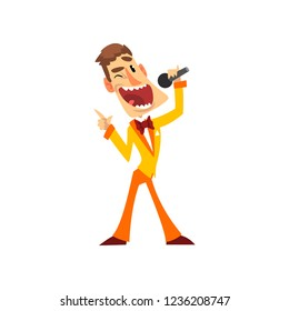 Joyful man with microphone, host of the show vector Illustration on a white background