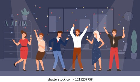 Joyful managers or colleagues celebrating holiday together. Happy men and women having fun and drinking champagne at office corporate party. Colorful vector illustration in flat cartoon style.