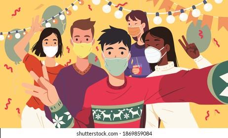 Joyful men, women posing taking selfie group photo at New Year party. Friends celebrating Christmas together. Wearing epidemic protective masks. Celebration fun flat vector masked character illustrati