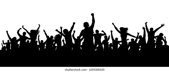 Joyful mob. Crowd cheerful people silhouette. Applause crowd. Happy group friends of young people dancing at musical party, concert, disco. Sports fans, applause, cheering. Vector on white background