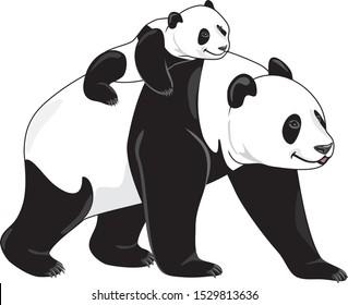 Joyful panda mom and her baby. Vector