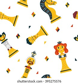 Joyful pattern with cute chess figures. Bright chess pieces in a seamless vector pattern. Play around with them at your leisure