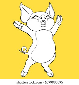 Joyful pig black contour line-art and white colour separately on a yellow background. Vector cartoon illustration, page coloring book