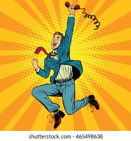 Joyful retro man with a handset, pop art vector illustration. gadgets and phones