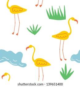 joyful seamless vector pattern with yellow flamingos