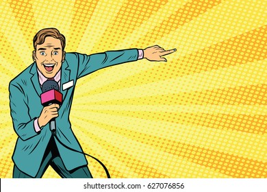 joyful TV reporter broadcasts live. Pop art retro vector illustration