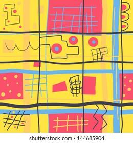 Joyful vibrant geometric background. Vector seamless