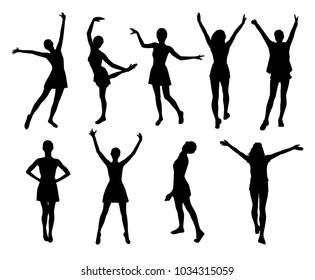 Joyful woman silhouettes