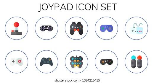 joypad icon set. 10 flat joypad icons.  Simple modern icons about  - joystick, games, game controller, gamepad