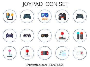 joypad icon set. 15 flat joypad icons.  Simple modern icons about  - game controller, gamepad, joystick, games