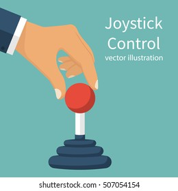 Joystick Control concept. Joystick arcade. Man controls lever gamepad. Vector illustration flat design style. Isolated on background. Computer video game. Arcade machine.