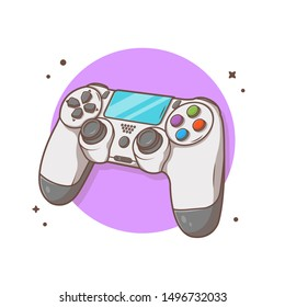 Joystick Game Console Vector Icon Illustration. Colorful Video Game Controller Icon Concept White Isolated. Flat Cartoon Style Suitable for Web Landing Page, Banner, Flyer, Sticker